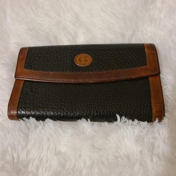 Vintage Dooney & Bourke Brown Black Leather Wallet